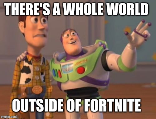 X, X Everywhere Meme | THERE'S A WHOLE WORLD OUTSIDE OF FORTNITE | image tagged in memes,x,x everywhere,x x everywhere | made w/ Imgflip meme maker