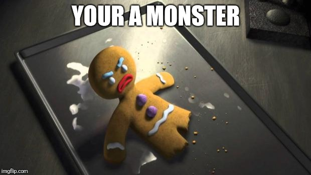 Angry Gingerbread Man | YOUR A MONSTER | image tagged in angry gingerbread man | made w/ Imgflip meme maker