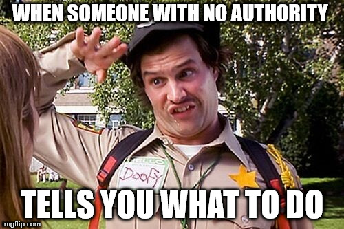Special Officer Doofy | WHEN SOMEONE WITH NO AUTHORITY TELLS YOU WHAT TO DO | image tagged in special officer doofy | made w/ Imgflip meme maker