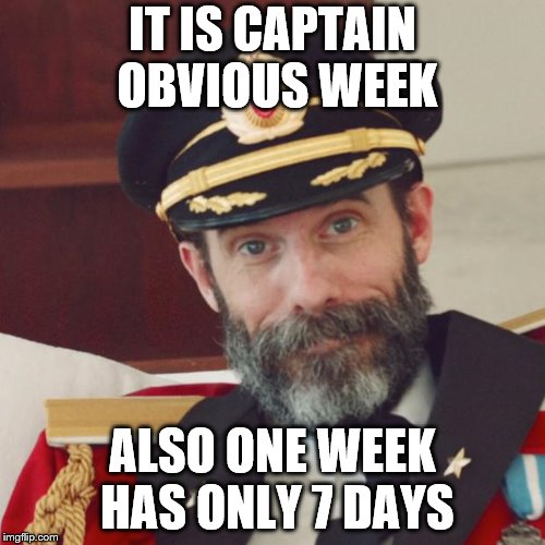 Brought to you by me MemefordandSons July 4th to July 11th | IT IS CAPTAIN OBVIOUS WEEK ALSO ONE WEEK HAS ONLY 7 DAYS | image tagged in captain obvious | made w/ Imgflip meme maker