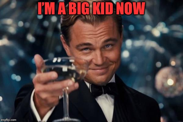 Leonardo Dicaprio Cheers |  I'M A BIG KID NOW | image tagged in memes,leonardo dicaprio cheers | made w/ Imgflip meme maker