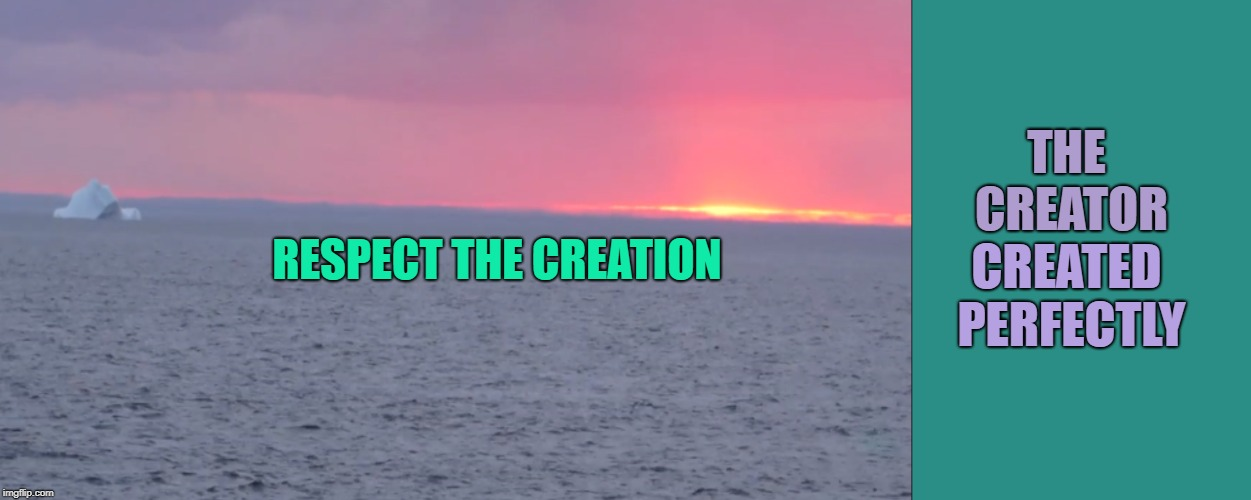 creation | THE CREATOR CREATED PERFECTLY RESPECT THE CREATION | image tagged in creation,faith,religion,mother nature,christian,native american | made w/ Imgflip meme maker