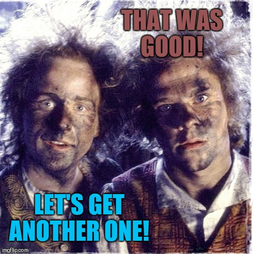 Shooting off fireworks with your friend be like  | THAT WAS GOOD! LET'S GET ANOTHER ONE! | image tagged in jbmemegeek,4th of july,lord of the rings,fireworks | made w/ Imgflip meme maker