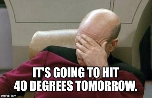 Captain Picard Facepalm | IT'S GOING TO HIT 40 DEGREES TOMORROW. | image tagged in memes,captain picard facepalm | made w/ Imgflip meme maker