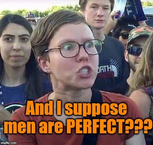 Triggered feminist | And I suppose men are PERFECT??? | image tagged in triggered feminist | made w/ Imgflip meme maker