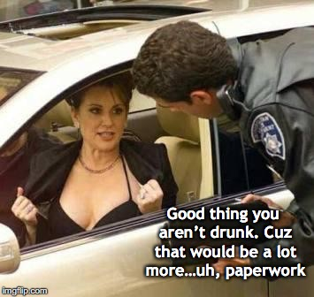 Less Paperwork | Good thing you aren't drunk. Cuz that would be a lot more…uh, paperwork | image tagged in police,traffic,ticket | made w/ Imgflip meme maker