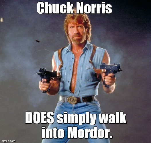 Chuck Norris Guns Meme | Chuck Norris DOES simply walk into Mordor. | image tagged in memes,chuck norris guns,chuck norris | made w/ Imgflip meme maker