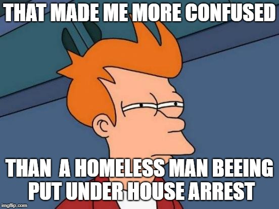 Futurama Fry Meme | THAT MADE ME MORE CONFUSED THAN  A HOMELESS MAN BEEING PUT UNDER HOUSE ARREST | image tagged in memes,futurama fry | made w/ Imgflip meme maker