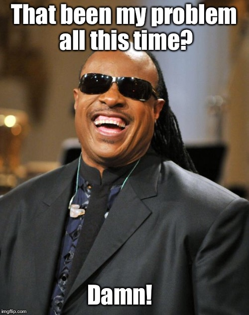 Stevie Wonder | That been my problem all this time? Damn! | image tagged in stevie wonder | made w/ Imgflip meme maker