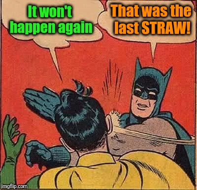 Batman Slapping Robin Meme | It won't happen again That was the last STRAW! | image tagged in memes,batman slapping robin | made w/ Imgflip meme maker