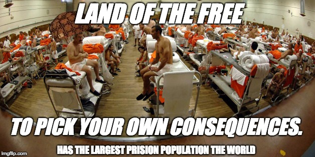 LAND OF THE FREE TO PICK YOUR OWN CONSEQUENCES. HAS THE LARGEST PRISION POPULATION THE WORLD | image tagged in prison | made w/ Imgflip meme maker