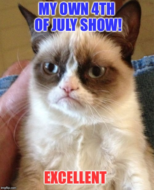 Grumpy Cat Meme | MY OWN 4TH OF JULY SHOW! EXCELLENT | image tagged in memes,grumpy cat | made w/ Imgflip meme maker