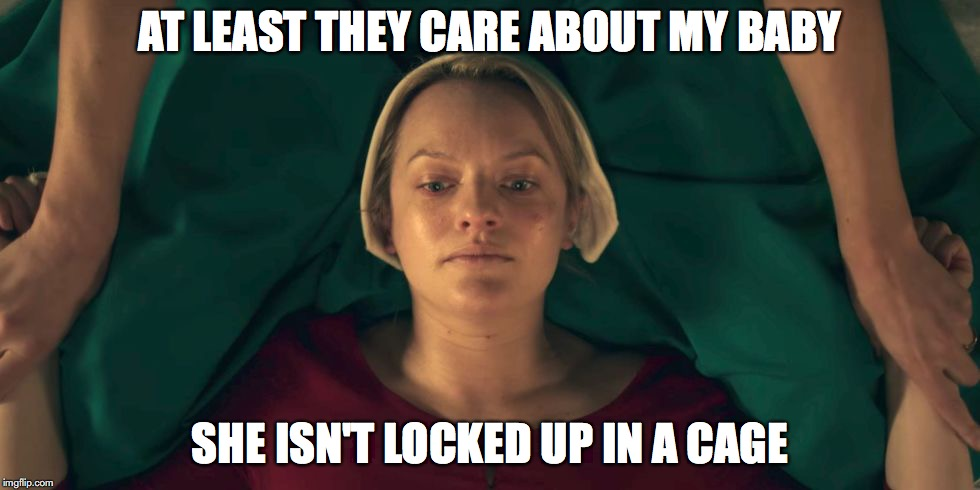 Handmaid | AT LEAST THEY CARE ABOUT MY BABY SHE ISN'T LOCKED UP IN A CAGE | image tagged in handmaid | made w/ Imgflip meme maker