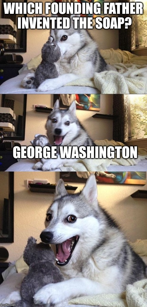 Bad Joke Dog | WHICH FOUNDING FATHER INVENTED THE SOAP? GEORGE WASHINGTON | image tagged in bad joke dog | made w/ Imgflip meme maker