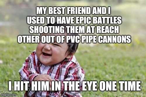 Evil Toddler Meme | MY BEST FRIEND AND I USED TO HAVE EPIC BATTLES SHOOTING THEM AT REACH OTHER OUT OF PVC PIPE CANNONS I HIT HIM IN THE EYE ONE TIME | image tagged in memes,evil toddler | made w/ Imgflip meme maker