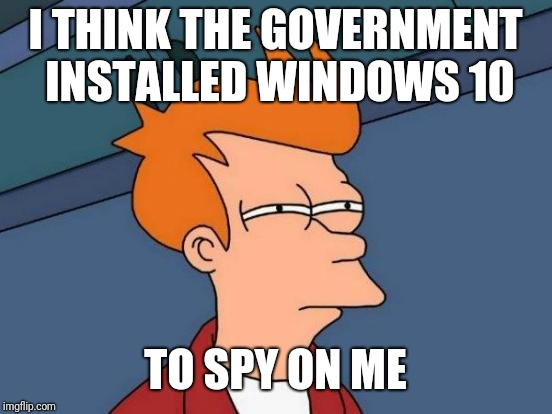 Futurama Fry Meme | I THINK THE GOVERNMENT INSTALLED WINDOWS 10 TO SPY ON ME | image tagged in memes,futurama fry | made w/ Imgflip meme maker