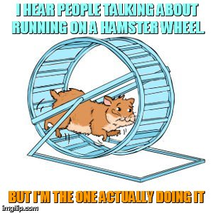 Hamster Weekend July 6-8 a bachmemeguy2, 1forpeace, and Shen_Hiroku_Nagato event/ It's Almost Here! | I HEAR PEOPLE TALKING ABOUT RUNNING ON A HAMSTER WHEEL. BUT I'M THE ONE ACTUALLY DOING IT | image tagged in memes,hamster weekend,running,hamster,wheel | made w/ Imgflip meme maker