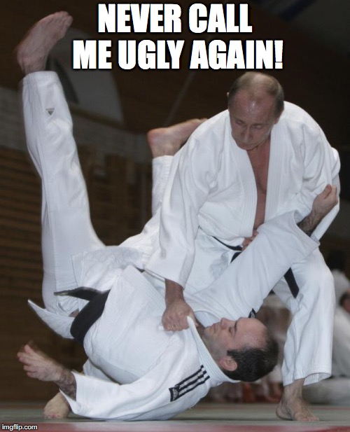 Putin judo | NEVER CALL ME UGLY AGAIN! | image tagged in putin judo | made w/ Imgflip meme maker