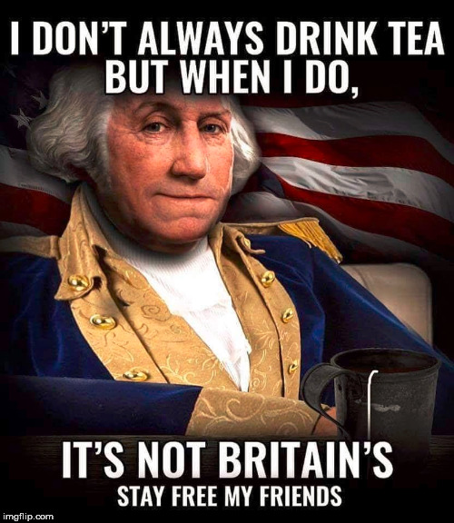 I don't think they ever made tea ... did they? | . | image tagged in memes,washington,patriotic,tea,humor,independence day | made w/ Imgflip meme maker
