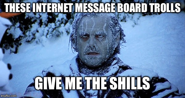 Freezing cold | THESE INTERNET MESSAGE BOARD TROLLS GIVE ME THE SHILLS | image tagged in freezing cold,memes,internet | made w/ Imgflip meme maker