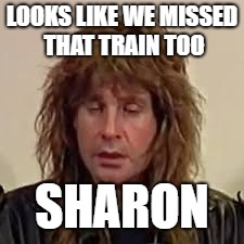 LOOKS LIKE WE MISSED THAT TRAIN TOO SHARON | made w/ Imgflip meme maker