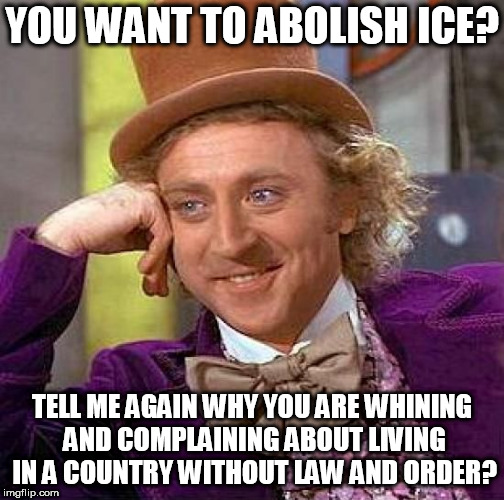 Creepy Condescending Wonka Meme | YOU WANT TO ABOLISH ICE? TELL ME AGAIN WHY YOU ARE WHINING AND COMPLAINING ABOUT LIVING IN A COUNTRY WITHOUT LAW AND ORDER? | image tagged in memes,creepy condescending wonka | made w/ Imgflip meme maker