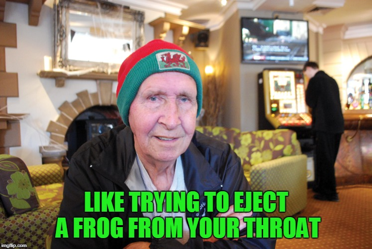 LIKE TRYING TO EJECT A FROG FROM YOUR THROAT | made w/ Imgflip meme maker