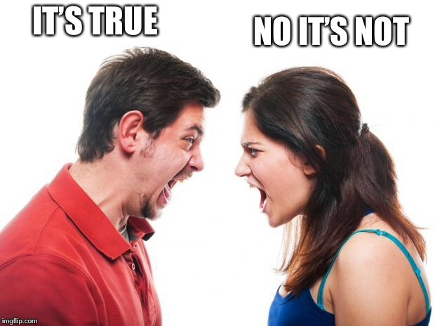 ANGRY FIGHTING MARRIED COUPLE HUSBAND & WIFE | IT'S TRUE NO IT'S NOT | image tagged in angry fighting married couple husband  wife | made w/ Imgflip meme maker