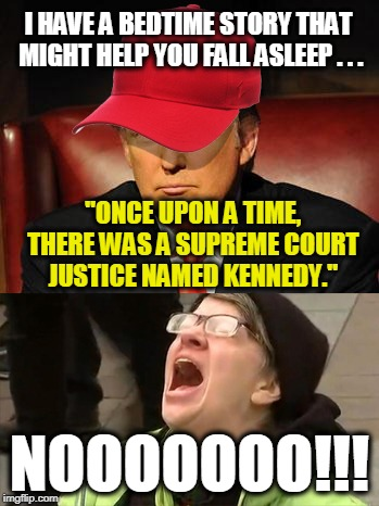 "Tormentor in Chief | ""ONCE UPON A TIME, THERE WAS A SUPREME COURT JUSTICE NAMED KENNEDY."" NOOOOOOO!!! I HAVE A BEDTIME STORY THAT MIGHT HELP YOU FALL ASLEEP . .  