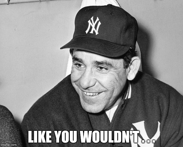 Yogi Berra | LIKE YOU WOULDN'T . . . | image tagged in yogi berra | made w/ Imgflip meme maker