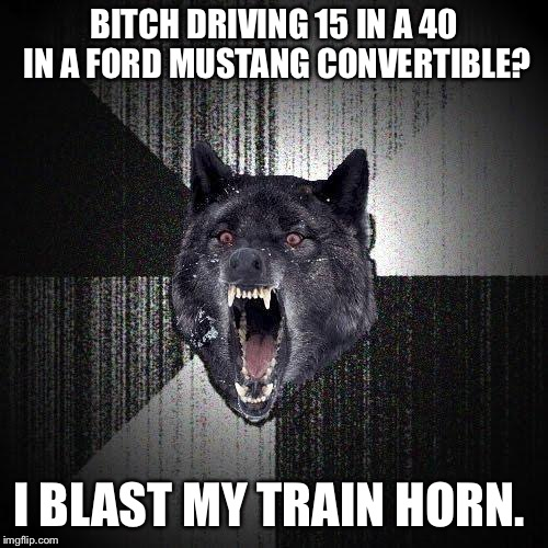Insanity Wolf Meme | B**CH DRIVING 15 IN A 40 IN A FORD MUSTANG CONVERTIBLE? I BLAST MY TRAIN HORN. | image tagged in memes,insanity wolf,AdviceAnimals | made w/ Imgflip meme maker