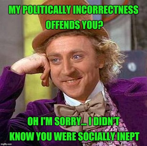 Creepy Condescending Wonka Meme | MY POLITICALLY INCORRECTNESS OFFENDS YOU? OH I'M SORRY... I DIDN'T KNOW YOU WERE SOCIALLY INEPT | image tagged in memes,creepy condescending wonka | made w/ Imgflip meme maker