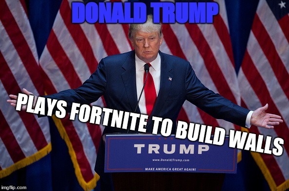 Donald Trump | DONALD TRUMP PLAYS FORTNITE TO BUILD WALLS | image tagged in donald trump | made w/ Imgflip meme maker