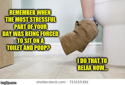 Kid Pooping Stress Now a Relaxing Escape From Life | REMEMBER WHEN THE MOST STRESSFUL PART OF YOUR DAY WAS BEING FORCED TO SIT ON A TOILET AND POOP? I DO THAT TO RELAX NOW... | image tagged in funny memes,pooping,kid stress,crappy memes,bathroom time,reality escape | made w/ Imgflip meme maker