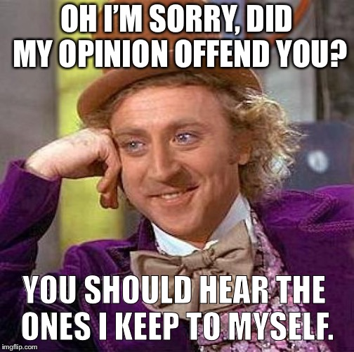 Creepy Condescending Wonka Meme | OH I'M SORRY, DID MY OPINION OFFEND YOU? YOU SHOULD HEAR THE ONES I KEEP TO MYSELF. | image tagged in memes,creepy condescending wonka | made w/ Imgflip meme maker