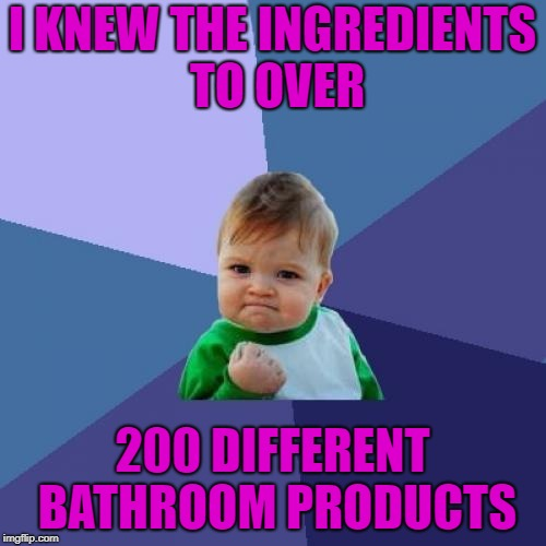 Success Kid Meme | I KNEW THE INGREDIENTS TO OVER 200 DIFFERENT BATHROOM PRODUCTS | image tagged in memes,success kid | made w/ Imgflip meme maker