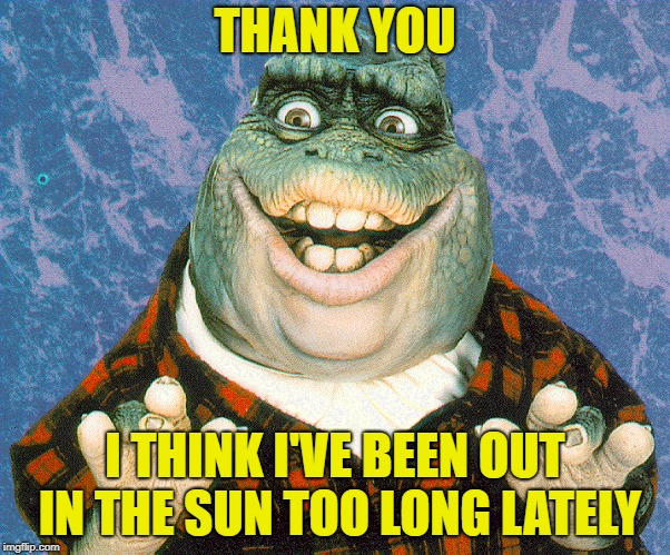 THANK YOU I THINK I'VE BEEN OUT IN THE SUN TOO LONG LATELY | made w/ Imgflip meme maker
