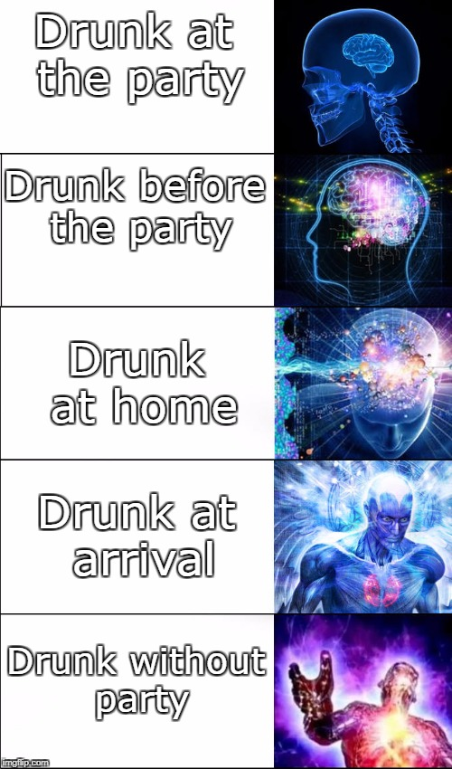Getting drunk tonight | Drunk at the party Drunk before the party Drunk at home Drunk at arrival Drunk without party | image tagged in drunk,party | made w/ Imgflip meme maker