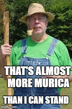 Hillbilly Pappy | THAT'S ALMOST MORE MURICA THAN I CAN STAND | image tagged in hillbilly pappy | made w/ Imgflip meme maker