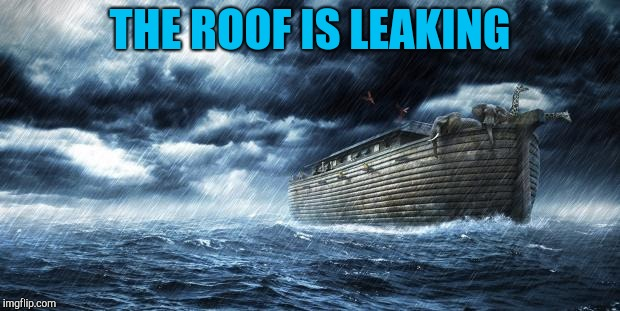 noahs ark | THE ROOF IS LEAKING | image tagged in noahs ark | made w/ Imgflip meme maker