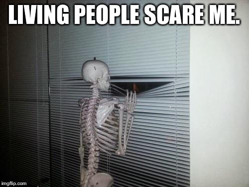 Skeleton Looking Out Window | LIVING PEOPLE SCARE ME. | image tagged in skeleton looking out window,memes,i see dead people | made w/ Imgflip meme maker
