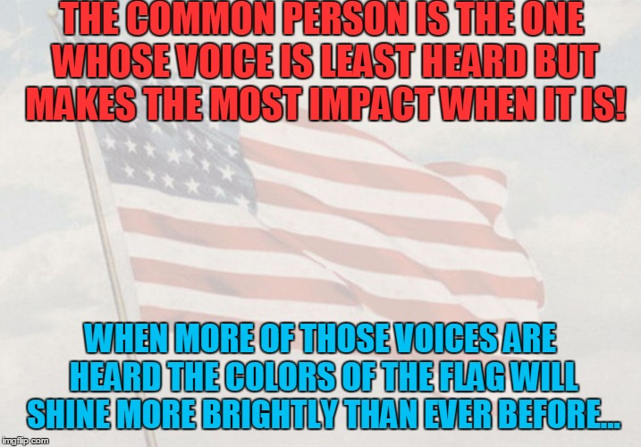 Faded Glory A Randy Norton poem | THE COMMON PERSON IS THE ONE WHOSE VOICE IS LEAST HEARD BUT MAKES THE MOST IMPACT WHEN IT IS! WHEN MORE OF THOSE VOICES ARE HEARD THE COLORS | image tagged in patriotic,donald trump,scott pruitt,democratic party,republicans | made w/ Imgflip meme maker