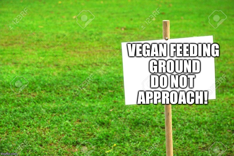 Grass is my favourite food | VEGAN FEEDING GROUND DO NOT APPROACH! | image tagged in funny,food,vegan,vegetarian | made w/ Imgflip meme maker