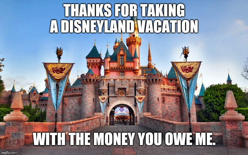 THANKS FOR TAKING A DISNEYLAND VACATION WITH THE MONEY YOU OWE ME. | image tagged in disneyland | made w/ Imgflip meme maker