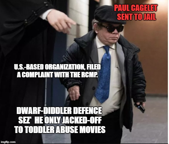 Hollywood North | U.S.-BASED ORGANIZATION, FILED A COMPLAINT WITH THE RCMP. DWARF-DIDDLER DEFENCE SEZ'  HE ONLY JACKED-OFF TO TODDLER ABUSE MOVIES PAUL CAGELE | image tagged in actors | made w/ Imgflip meme maker