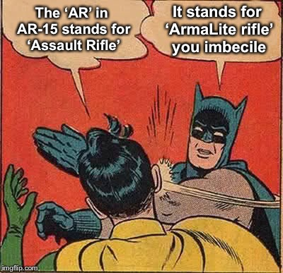 AR-15 | The 'AR' in AR-15 stands for 'Assault Rifle' It stands for 'ArmaLite rifle' you imbecile | image tagged in memes,batman slapping robin,ar-15 | made w/ Imgflip meme maker
