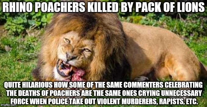 #PoacherLivesMatter  Why is the life of a poacher killing endangered animals for profit less valuable than a murderer or rapist? | RHINO POACHERS KILLED BY PACK OF LIONS QUITE HILARIOUS HOW SOME OF THE SAME COMMENTERS CELEBRATING THE DEATHS OF POACHERS ARE THE SAME ONES  | image tagged in justice,police brutality,double standards | made w/ Imgflip meme maker