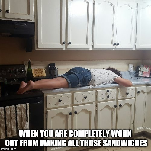 WHEN YOU ARE COMPLETELY WORN OUT FROM MAKING ALL THOSE SANDWICHES | made w/ Imgflip meme maker