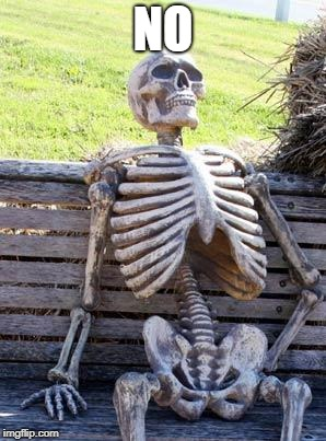 Waiting Skeleton Meme | NO | image tagged in memes,waiting skeleton | made w/ Imgflip meme maker
