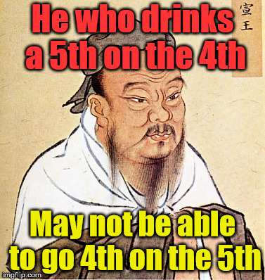 Confucius says .... It might take a second to get it. | He who drinks a 5th on the 4th May not be able to go 4th on the 5th | image tagged in confucius says,drink,memes,funny,thinking | made w/ Imgflip meme maker